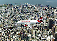 aerial photograph Virgin America Airbus 320 above San Francisco, California