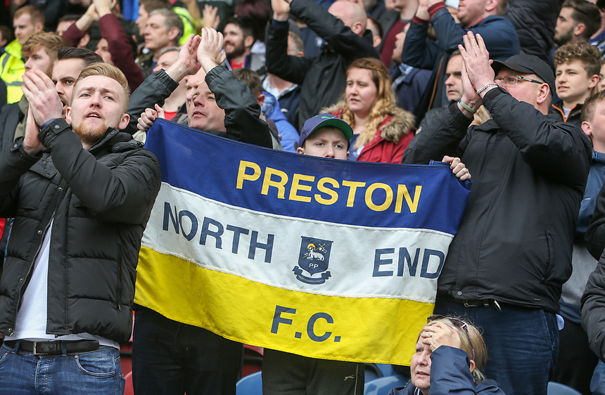 Preston North End fans celebrate Jordan Hugill's equaliser<br /> <br /> Photographer Alex Dodd/CameraSport<br /> <br /> The EFL Sky Bet Championship - Huddersfield Town v Preston North End - Friday 14th April 2016 - The John Smith's Stadium - Huddersfield<br /> <br /> World Copyright &copy; 2017 CameraSport. All rights reserved. 43 Linden Ave. Countesthorpe. Leicester. England. LE8 5PG - Tel: +44 (0) 116 277 4147 - admin@camerasport.com - www.camerasport.com