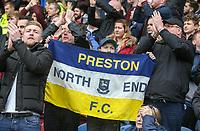Preston North End fans celebrate Jordan Hugill's equaliser<br /> <br /> Photographer Alex Dodd/CameraSport<br /> <br /> The EFL Sky Bet Championship - Huddersfield Town v Preston North End - Friday 14th April 2016 - The John Smith's Stadium - Huddersfield<br /> <br /> World Copyright &copy; 2017 CameraSport. All rights reserved. 43 Linden Ave. Countesthorpe. Leicester. England. LE8 5PG - Tel: +44 (0) 116 277 4147 - admin@camerasport.com - www.camerasport.com