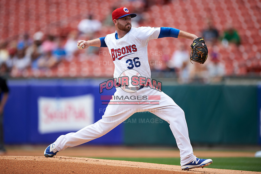 Buffalo Bisons starting pitcher Drew Hutchison (36) delivers a pitch during a game against the Louisville Bats on June 23, 2016 at Coca-Cola Field in Buffalo, New York.  Buffalo defeated Louisville 9-6.  (Mike Janes/Four Seam Images)