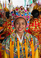 Beautiful asian girl wearing multicolored jeweled headdress, Chinese Girls Drill Team, Chinatown Seafair Parade 2015, Seattle, Washington State, WA, America, USA.
