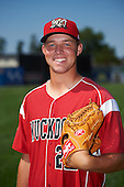 Batavia Muckdogs pitcher Mike King (22) poses for a photo after a practice on July 20, 2016 at Dwyer Stadium in Batavia, New York.  (Mike Janes/Four Seam Images)