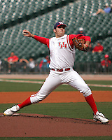 Houston Cougars starting pitcher Mo Wiley against the Texas Tech Red Raiders on Sunday March 7th, 2100 at the Astros College Classic in Houston's Minute Maid Park.  (Photo by Andrew Woolley / Four Seam Images)