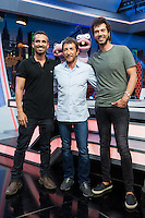 Juan, Damian Pablo Motos and the ants Trancas y Barrancas during the presentation of the new season of the tv show · El Hormiguero · of Antena 3 channel. September 01, 2016. (ALTERPHOTOS/Rodrigo Jimenez) NORTEPHOTO