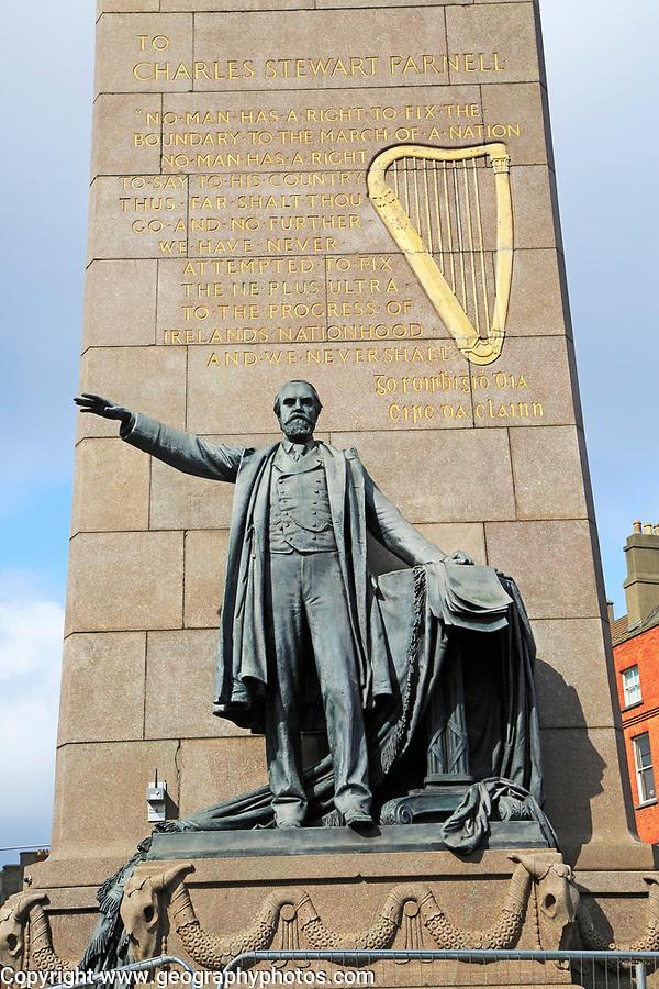 Charles Stewart Parnell monument, O'Connell Street, Dublin city centre, Ireland, Republic of Ireland sculptor Augustus Saint-Gaudens unveiled 1911