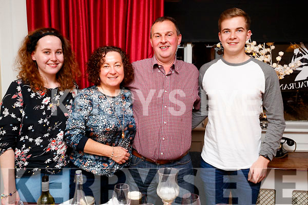 Breda, Maura, Jeremiah and Jeremy Murphy, enjoying a meal at the Denny Lane restaurant, Tralee on Saturday night last.