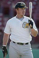 Casey Myers of the Modesto A's before a California League 2002 season game against the High Desert Mavericks at Mavericks Stadium, in Adelanto, California. (Larry Goren/Four Seam Images)