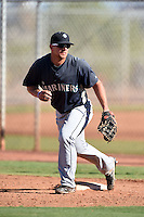Seattle Mariners first baseman Joe DeCarlo (4) during an Instructional League game against the Cleveland Indians on October 1, 2014 at Goodyear Training Complex in Goodyear, Arizona.  (Mike Janes/Four Seam Images)