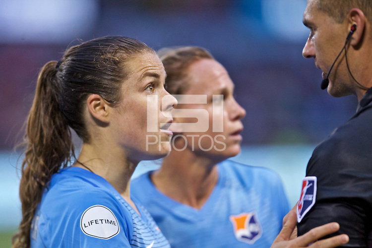 Portland, OR - Saturday June 17, 2017: Kelley O'Hara, Timothy Ford during a regular season National Women's Soccer League (NWSL) match between the Portland Thorns FC and Sky Blue FC at Providence Park.