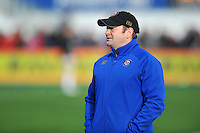 Bath Rugby first team coach Darren Edwards looks on during the pre-match warm-up. Aviva Premiership match, between Saracens and Bath Rugby on January 30, 2016 at Allianz Park in London, England. Photo by: Patrick Khachfe / Onside Images
