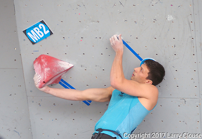 June 9, 2017 - Vail, Colorado, U.S. - USA's, Ryan Copeland, works through the beginning of his second climbing problem in the IFSC Climbing World Cup during the GoPro Mountain Games, Vail, Colorado.  Adventure athletes from around the world meet in Vail, Colorado, June 8-11, for America's largest celebration of mountain sports, music, and lifestyle.