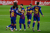 16th July 2020; Camp Nou, Barcelona, Catalonia, Spain; La Liga Football, Barcelona versus Osasuna; Leo Messi celebrates with his team mates after scoring from a free kick in the 62nd minute for 1-1