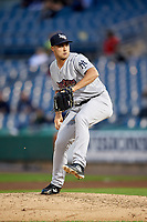 Scranton/Wilkes-Barre RailRiders relief pitcher J.P. Feyereisen (37) delivers a pitch during a game against the Syracuse Chiefs on June 14, 2018 at NBT Bank Stadium in Syracuse, New York.  Scranton/Wilkes-Barre defeated Syracuse 9-5.  (Mike Janes/Four Seam Images)