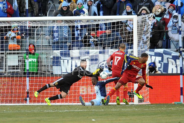 Kansas City, Kansas - Saturday, December 7, 2013: Sporting Kansas City defeated Real Salt Lake on penalty kicks after a 1-1 tie to win MLS Cup 2013 at Sporting Park.