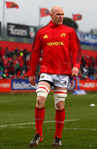 23.03.2013 Cork, Ireland. Paul O'Connell (Munster) made his return to competitive action, during the Rabodirect Pro 12 game between Munster and Connacht from Musgrave Park.