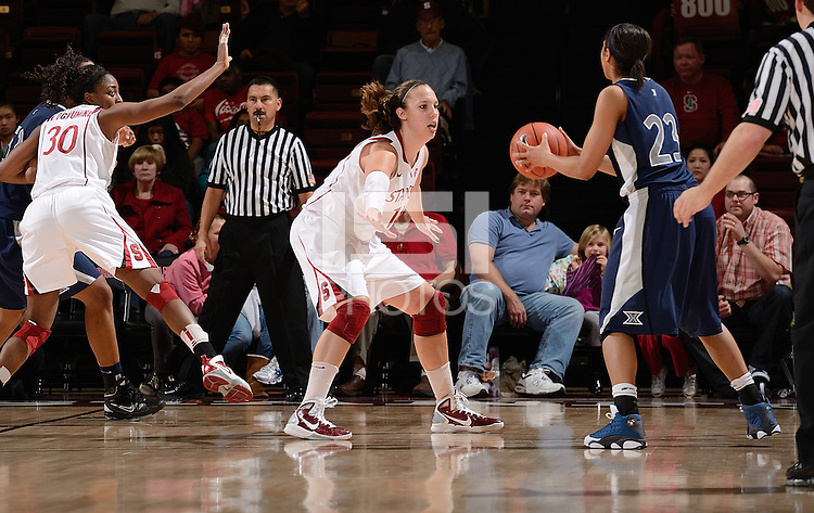 STANFORD, CA - DECEMBER 28: Kayla Pedersen (14) and Nnemkadi Ogwumike (30) of Stanford women's basketball on defense in a game against Xavier on December 28, 2010 at Maples Pavilion in Stanford, California.  Stanford topped Xavier, 89-52.