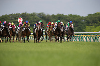 FUCHU,JAPAN-MAY 28: Rey de Oro #12,ridden by Christophe Lemaire,wins the Japanese Derby at Tokyo Racecourse on May 28,2017 in Fuchu,Tokyo,Japan (Photo by Kaz Ishida/Eclipse Sportswire/Getty Images)