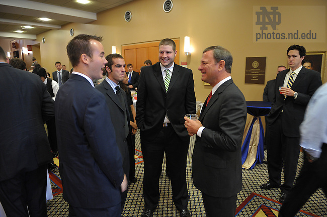 U.S. Supreme Court Chief Justice John Roberts at a reception at the DeBartolo Performing Arts Center following his talk to students and faculty of the Law School...Photo by Matt Cashore/University of Notre Dame