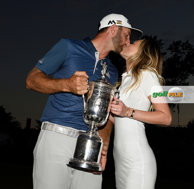 Dustin JOHNSON (USA) kisses his wife Paula (daughter of ice hockey great Wayne Gretsky) with the trophy during fourth round 116th US Open 2016 ,Oakmont Country Club, Pittsburgh,Pennsylvania,USA.