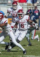 Hawgs Illustrated/BEN GOFF <br /> T.J. Hammonds, Arkansas running back, carries in the fourth quarter against Ole Miss Saturday, Oct. 28, 2017, at Vaught-Hemingway Stadium in Oxford, Miss.
