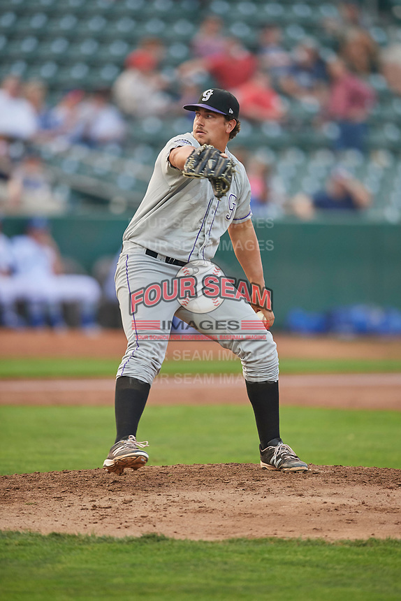 Hunter Williams (26) of the Grand Junction Rockies delivers a pitch to the plate against the Ogden Raptors at Lindquist Field on September 6, 2017 in Ogden, Utah. Ogden defeated Grand Junction 11-7. (Stephen Smith/Four Seam Images)