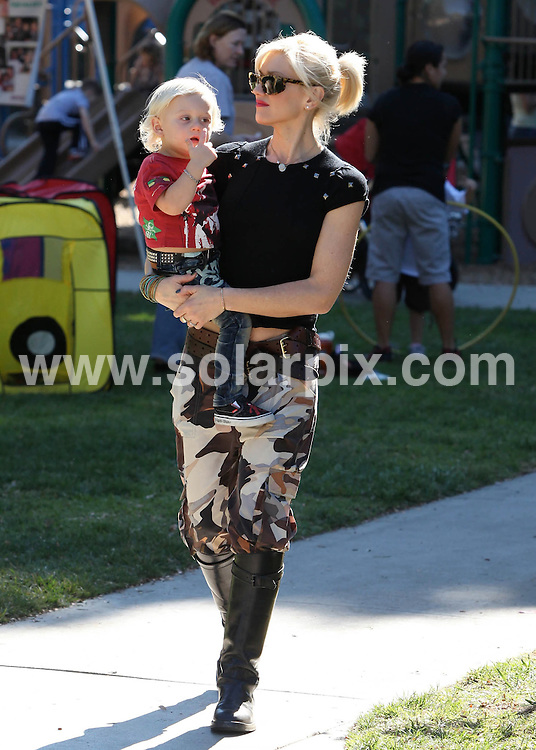 **ALL ROUND EXCLUSIVE PICTURES FROM SOLARPIX.COM**                                             **SYNDICATION RIGHTS FOR UK AND SPAIN ONLY**                                                                                  Caption: Gwen Staefani and Gavin Rossdale take their adorable boys Kingston and Zuma to the park, CA, USA, 14 November 2010                                                                              This pic:  Gwen Staefani                                                                                             JOB REF: 12476        STL       DATE: 14_11_2010                                                           **MUST CREDIT SOLARPIX.COM OR DOUBLE FEE WILL BE CHARGED**                                                                      **MUST AGREE FEE BEFORE ONLINE USAGE**                               **CALL US ON: +34 952 811 768 or LOW RATE FROM UK 0844 617 7637**