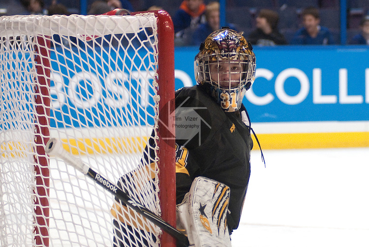 March 25,  2011             Colorado College goalie Joe Howe (31) checks the action around the side of the net in the second period. The Boston College Eagles played against the Colorado College Tigers in the second semifinal of the NCAA Division 1 Men's West Regional Hockey Tournament, on Friday March 25, 2011 at the Scottrade Center in downtown St. Louis.