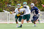 Orange, CA 05/16/15 - Dillon Bernad (Concordia #8), Josh Fagan (Concordia #10) and Patrick Ryan (Dayton #28) in action during the 2015 MCLA Division II Championship game between Dayton and Concordia, at Chapman University in Orange, California.