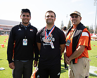 Jesse Nikora '21 3rd place, hammer throw<br /> The Occidental College men's and women's track and field teams compete in the 2019 Southern California Intercollegiate Athletic Conference (SCIAC) Track and Field Championships at the Claremont-Mudd-Scripps Burns Track Complex in Claremont, Calif. on Saturday, April 27, 2019.<br /> After the two-day SCIAC Championships CMS scored 211.50 points, followed by Pomona-Pitzer (171.50), Redlands (114), Occidental (92.50), Whittier (57.50), La Verne (54), Cal Lutheran (48), Chapman (23) and Caltech (4). <br /> <br /> (Photo by Eddie Ruvalcaba, Image of Sport)