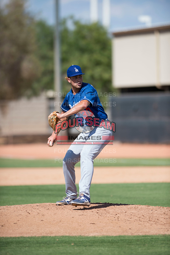 Los Angeles Dodgers relief pitcher Reza Aleaziz (30) delivers a pitch during an Instructional League game against the Milwaukee Brewers at Maryvale Baseball Park on September 24, 2018 in Phoenix, Arizona. (Zachary Lucy/Four Seam Images)