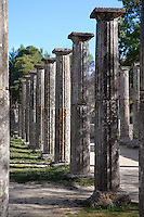 OLYMPIA, GREECE - APRIL, 13 : A general view of a row columns in the Palaestra, on April 13, 2007, in Olympia, Greece. The Palastra, seen in the early morning sun, was built in the 3rd century BCand is part of the Gymnasium complex. The central courtyard was used for boxing and wrestling practice. After being covered by alluvial deposits for hundreds of years Olympia was rediscovered in 1776, and excavated in the 19th century. (Photo by Manuel Cohen)