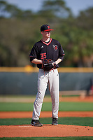 Rutgers Scarlet Knights starting pitcher John O'Reilly (35) delivers a pitch during a game against the Indiana Hoosiers on February 23, 2018 at North Charlotte Regional Park in Port Charlotte, Florida.  Indiana defeated Rutgers 7-6.  (Mike Janes/Four Seam Images)