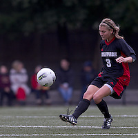 NC State forward Meagan Proper (3) passes the ball. Boston College defeated North Carolina State,1-0, on Newton Campus Field, on October 23, 2011.