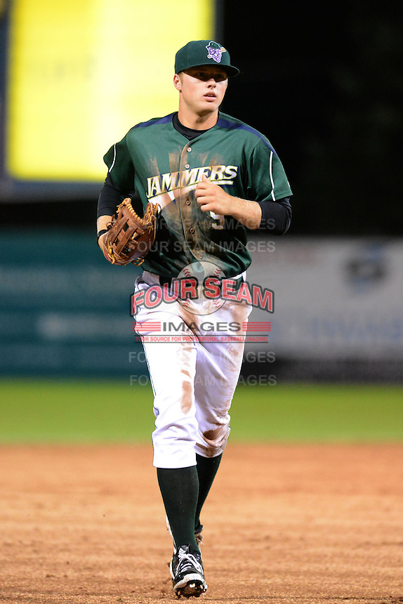 Jamestown Jammers outfielder Austin Meadows (9) during a game against the State College Spikes on September 3, 2013 at Russell Diethrick Park in Jamestown, New York.  State College defeated Jamestown 3-1.  (Mike Janes/Four Seam Images)