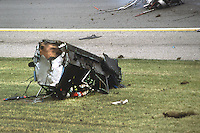 INDIANAPOLIS, IN - MAY 27: Pat Bedard crashes his March 84C 29/Cosworth during the 1984 Indianapolis 500 on May 27, 1984.