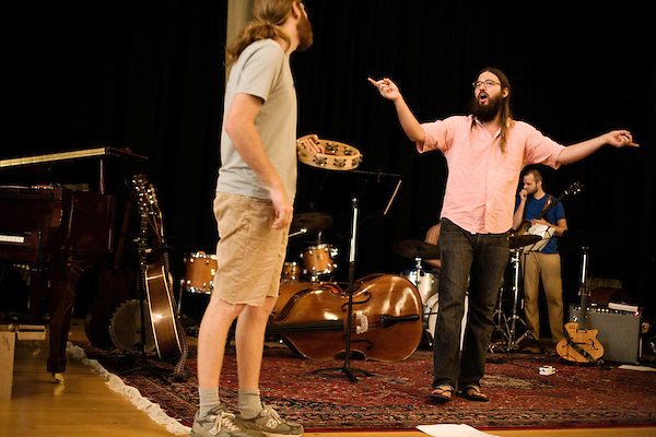 September 14, 2010.  Durham, North Carolina.. Joe Westerlund and Matt White.. Day One of Sounds of the South, a reinterpretation of Alan Lomax's field recordings, with music by Megafaun, Fight the Big Bull, Sharon Van Etten and Justin Vernon of Bon Iver..