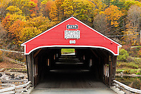 Covered bridge in autumn, Bath, New Hampshire, USA.