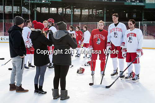 Tommy Kelley (BU - 22), Doyle Somerby (BU - 27), Nick Roberto (BU - 15) - The Boston University Terriers practiced on the rink at Fenway Park on Friday, January 6, 2017.The Boston University Terriers practiced on the rink at Fenway Park on Friday, January 6, 2017.