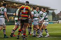 Matt CORNISH of Ealing Trailfinders celebrates after he scores a try during the Championship Cup match between Ealing Trailfinders and Richmond at Castle Bar , West Ealing , England  on 15 December 2018. Photo by David Horn.