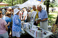 Author Revelle discusses book My Enemy's Child. Svenskarnas Dag Swedish Heritage Day Minnehaha Park Minneapolis Minnesota USA