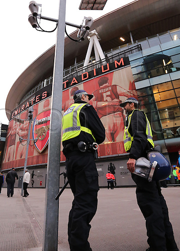 28.09.2016. Emirates Stadium, London, England. UEFA Champions League Football. Arsenal versus FC Basel. Police officers gather outside The Emirates Stadium before the game for security