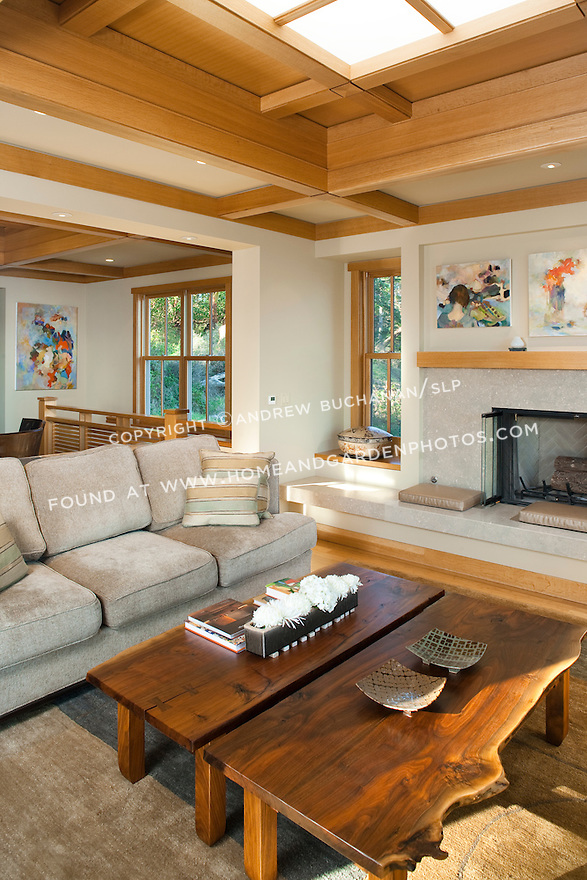 Wood trim and box beam ceiling bring warmth to the living room of a Pacific Northwest home. this image is available through an alternate architectural stock image agency, Collinstock located here: http://www.collinstock.com