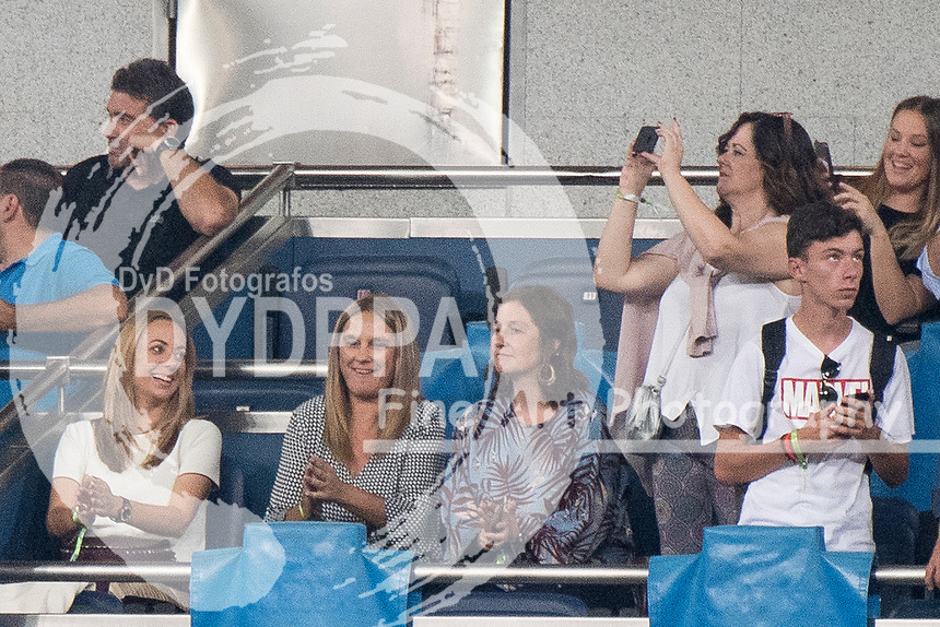 Uefa Champions League football match Real Madrid vs AS Roma at the Santiago Bernabeu stadium in Madrid on September 19, 2018.<br />  <br /> Vanja Bosnic (L), Luca Modric's wife