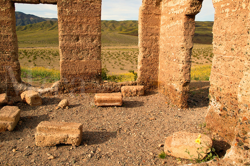 The Ashford Mill ruins.  In 1914, gold ore was process here for shipment to a smelter.  Surounding the mill are fields of hairy desert sunflower, in Death Valley often called desert gold (Geraea canescens), , Death Valley National Park, California