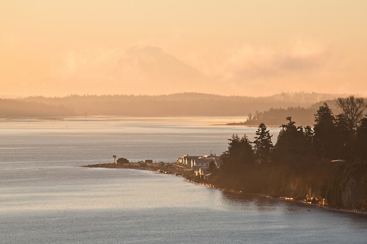 Port Townsend, Puget Sound, Mount Rainier, sunrise, Washington State, Pacific Northwest, USA,