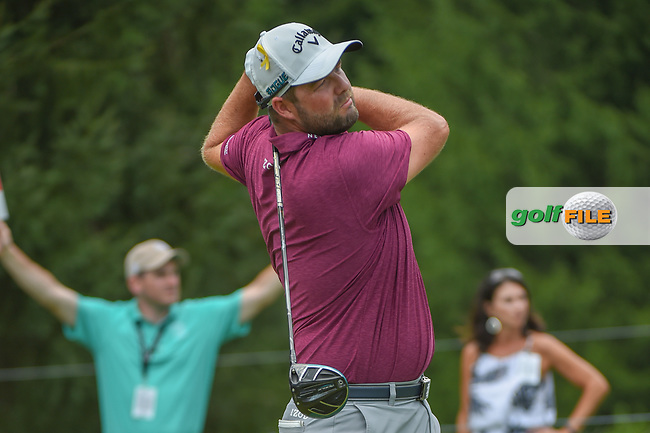 Marc Leishman (AUS) watches his tee shot on 4 during 4th round of the World Golf Championships - Bridgestone Invitational, at the Firestone Country Club, Akron, Ohio. 8/5/2018.<br /> Picture: Golffile   Ken Murray<br /> <br /> <br /> All photo usage must carry mandatory copyright credit (© Golffile   Ken Murray)