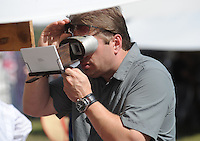 NWA Democrat-Gazette/ANDY SHUPE<br /> A visitor looks Saturday, Sept. 26, 2015, through a stereoscope while attending a re-enactment of the Civil War Battle of Pea Ridge in Pea Ridge. Visit nwadg.com/photos to see more from the weekend.