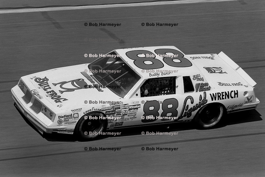 DAYTONA BEACH, FL - FEBRUARY 16: Buddy Baker drives his Oldsmobile during the Daytona 500 NASCAR Winston Cup race at the Daytona International Speedway in Daytona Beach, Florida, on February 16, 1986.