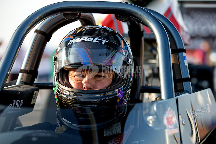 Aug. 30, 2013; Clermont, IN, USA: NHRA super comp driver Billy Torrence during qualifying for the US Nationals at Lucas Oil Raceway. Mandatory Credit: Mark J. Rebilas-