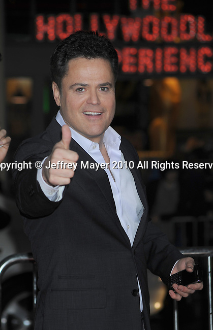"HOLLYWOOD, CA. - February 08: Donny Osmond arrives at the ""Valentine's Day"" Los Angeles Premiere at Grauman's Chinese Theatre on February 8, 2010 in Hollywood, California."